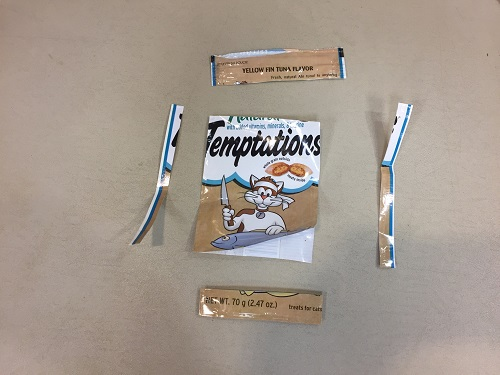 edges of treat pouch cut off