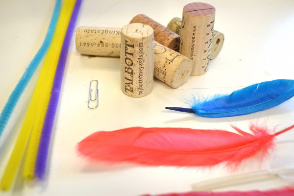 pipe cleaners, paper clip, cork, feathers