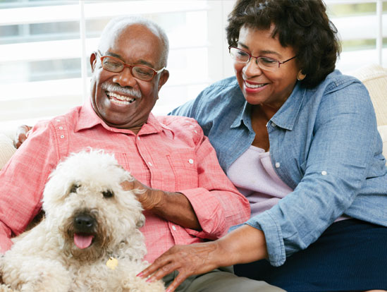 Older African American  man and woman sitting on sofa with their white large dog.