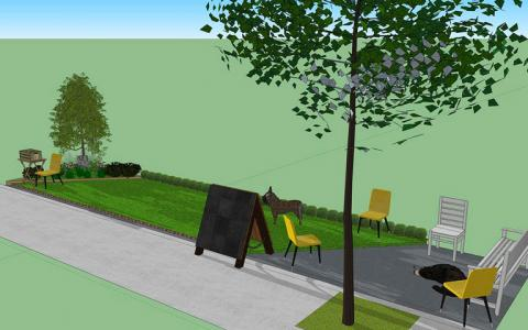 An illustrated rendering of a small urban oasis for dogs with fresh cut grass, seats for humans and a small, leafy tree